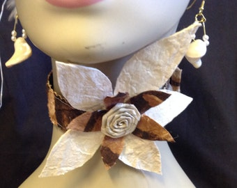 Authentic Tapa Cloth Necklace Or Neck Piece.. Perfect For Tahitian And Cook Island Dance Costume, Wedding, Luau, Gifts
