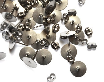 50 Pairs: 10mm Surgical Steel Earring Posts with Backs