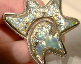 Mexican Sterling Silver Abalone Shell Starfish Modernist Abstract Pin Brooch c1950s