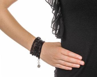 Boho Wrap leather Bracelet (Black beads) Handmade