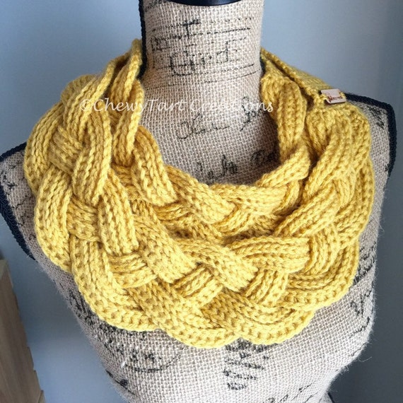 Double Layer Braided Cowl Chunky Crochet by ChewyTartCreations