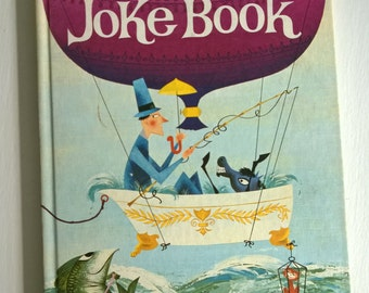 The Joke Book - Compiled by Oscar Weigle --- Illustrated by Bill & Bonnie Rutherford --- Vintage Funny Riddles Kids Library Hardcover Book