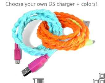 Nintendo Charger | Wrapped USB Charger For Nintendo DS / 3ds / DSi LL | Choose Your Colors | Custom Gamer Teen Gift | Video Game Sync Cable