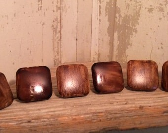 Six Wooden knobs, vintage knobs, wooden knobs, dresser knobs, kitchen knobs, knobs for crafting, knobs for arts and crafts
