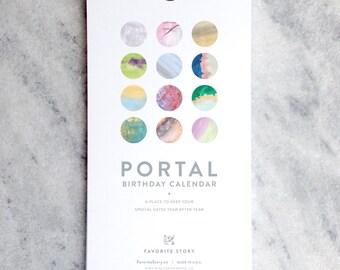 Perpetual Calendar, Birthday Calendar, Portal, watercolor washes