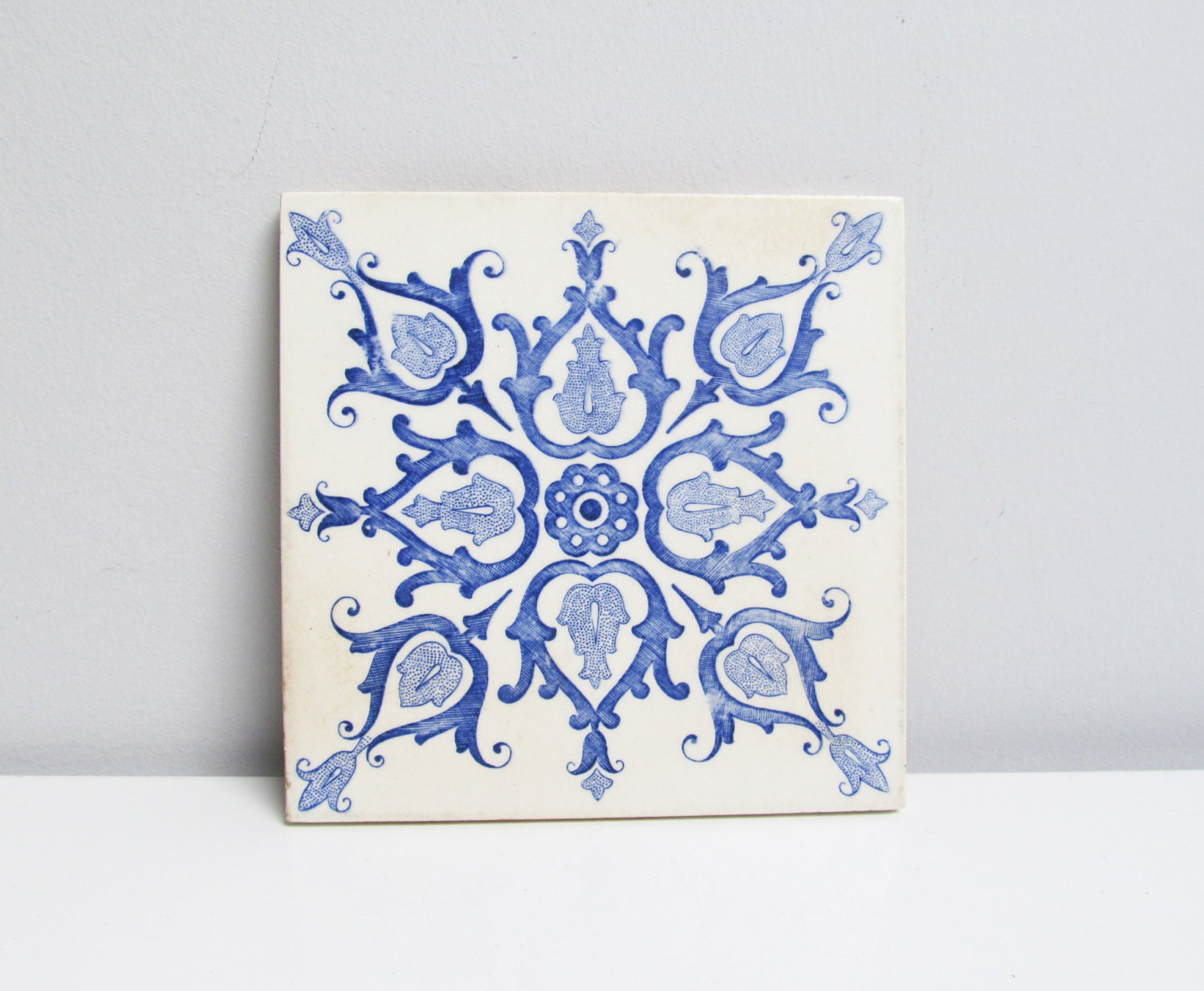 Vintage Ceramic Tile Trivet Kitchen Tile Fireplace