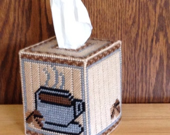 Coffee Tissue Box Cover, plastic canvas, needlepoint item, Kitchen Décor,  coffee decor,  coffee mug,  coffee cup decor, coffee accessories