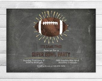 Super Bowl Party Invitation, Football, Sports Digital Invite File, Watercolor, Gold, Chalkboard