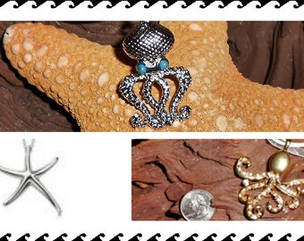 Coastal Beach Inspired Jewelry - Silver Octopus or Starfish Charm Necklace