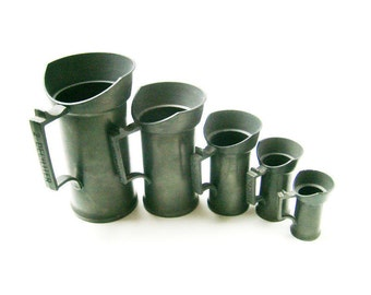 Vintage Metal Measuring Cups, Dutch Set of 5 Cups, Vases for Flowers, Home Decoration