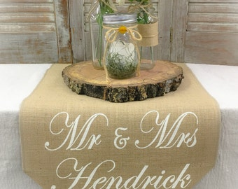 "Burlap Table Runner 15"" wide with monogram sweetheart table Sweetheart runner Wedding runner Wedding gift"