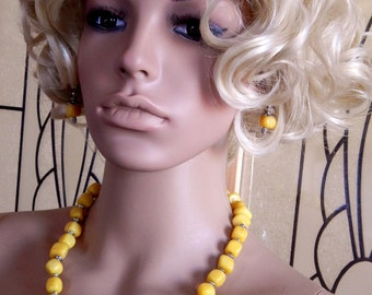 Jonquil Yellow Jade Necklace, Yellow Jade Cube Bead Necklace, Semi Precious Gemstone Necklace, Yellow Jewelry, Valentine's Day Jewelry Gift