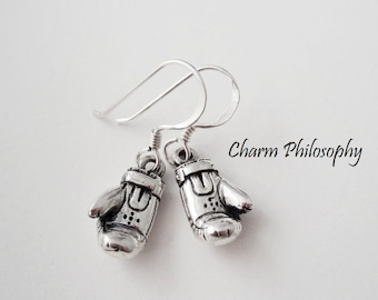 Boxing Glove Earrings - 925 Sterling Silver Jewelry - Kids Earrings - Small Lightweight Boxing Gloves Charms