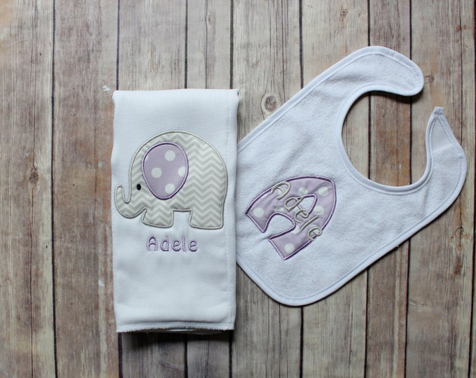 Monogrammed Baby Girl Purple Grey Elephant Burp Cloth Set, Personalized Girl Gift Set, Personalized Baby Gift, Custom Embroidered Burp, Baby