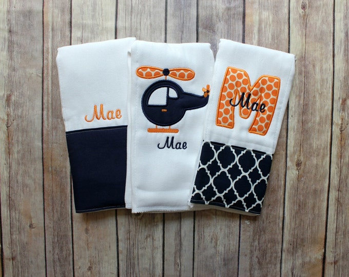 Monogrammed Baby Boy Burp Cloth Set, Baby Boy Gift Set, Personalized Boy Burp Cloths, Helicopter, Military Baby Gift, Helicopter Baby