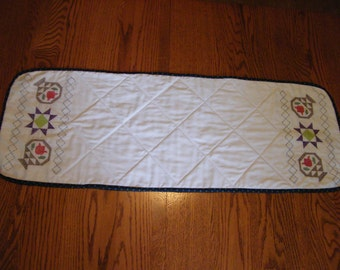 Hand Quilted Table Runner with Embroidered Quilt Design