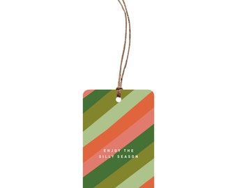 Festive Gift Tag – Enjoy The Silly Season. Quirky Christmas Gift Tag. Simple. Stripe Pattern. Red and Green. Funny Christmas Tag. Unique.
