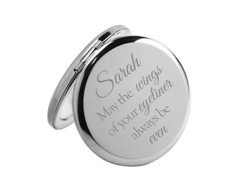 Personalised silver compact mirror - Funny Beauty quote - May the wings of your eyeliner always be even (Christmas gift)