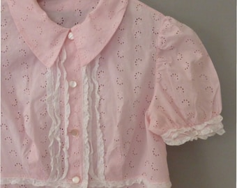 1960s nightdress. M size. Sweet cotton lace pink night gown. With tag, made in Greece. In a very good vintage condition.