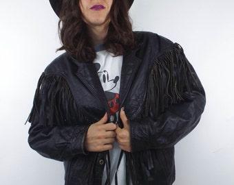 Vintage 80s Distressed Black Leather Fringe Jacket