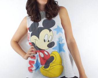 Vintage 90s Grey Mickey Mouse Cropped Muscle Tee