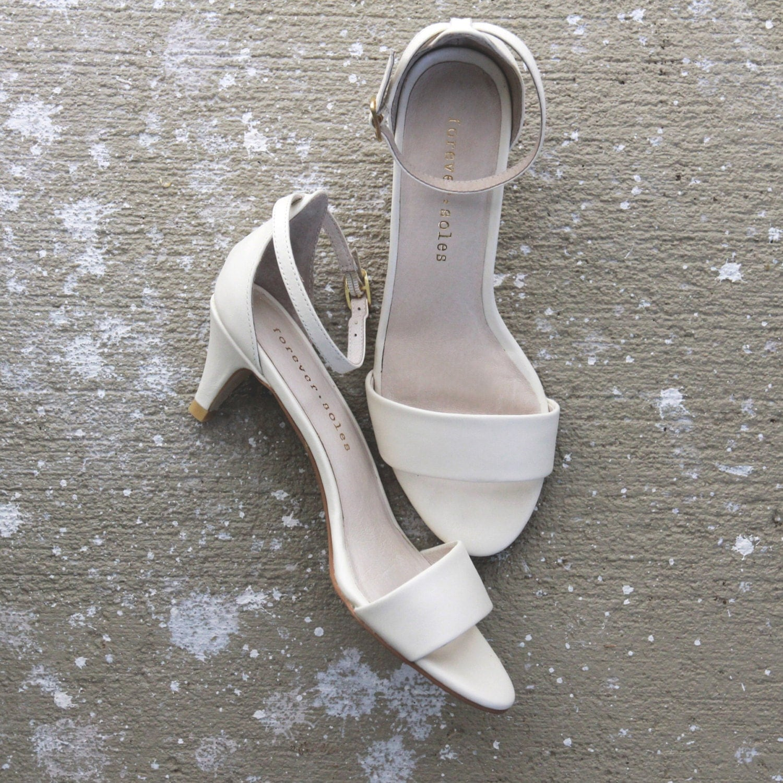 Ladies Ivory low heel wedding shoes. Low heel by ForeverSoles