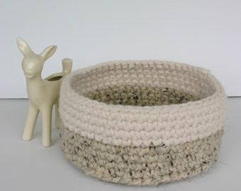 crochet basket - wool acrylic blend crochet blasket - storage basket - minimalist basket - storage crochet basket