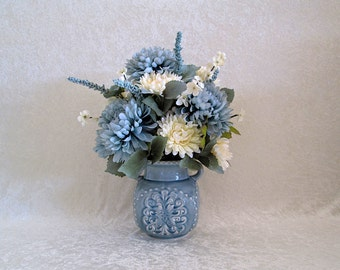 Silk Floral Arrangement in a Blue Gray Ceramic Vase - Flower Arrangement - Home or Office Decor
