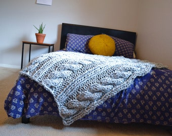 chunky knit cabled afghan throw 40x52 inches, wool handmade blanket bed runner pattern available custom colors gift