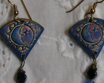 Earrings Celestial with Stars and Moons Beaded Painted Blue and Gold with Beads
