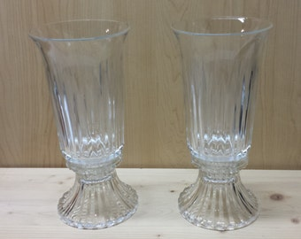 Cut Glass Vintage Pair of Candle Holders 2 piece 9 1/2' tall