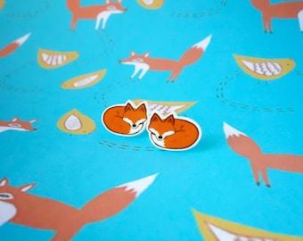 Fox earrings, Fox stud earrings, Fox gifts