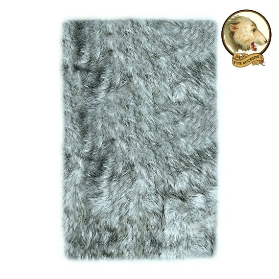 Soft Faux Fur Area Rug Gray Wolf Shaggy Shag Fake Fur