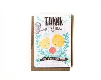 Thanks For Your Care Blank Greeting Card with Recycled Kraft Envelope