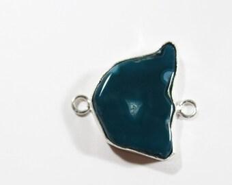 Teal Druzy Crystal Quartz Agate Gemstone, Sterling Silver Jewelry Connector Link, 30x28mm, Teal Druzy Link, Teal Druzy Gem Bracelet Link