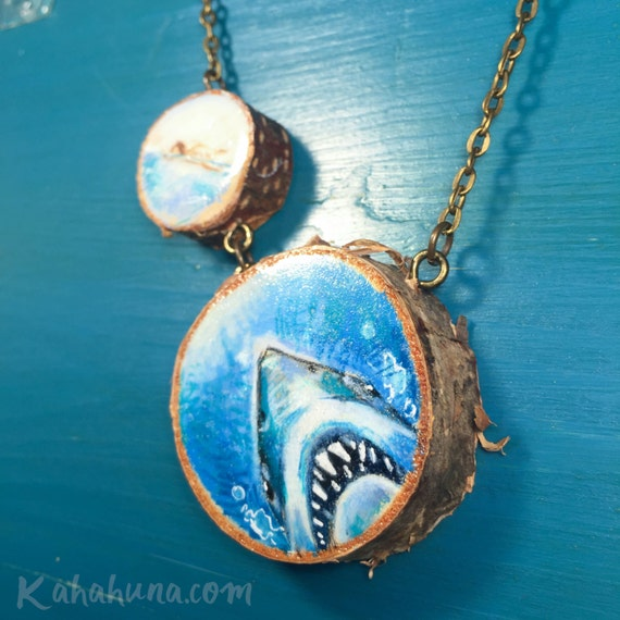 Shark attack hand-drawn wooden necklace