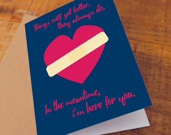 Sympathy card - bereavement card, condolences card, thinking of you card, broken heart, charity card, here for you card