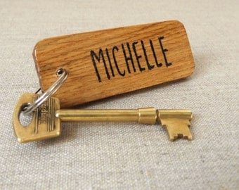 Personalised Keyring - Oak Wood Keychain - Custom Gift - Name Keyring - Birthday Gift - Friend Keyring - Present for her - Gift for him