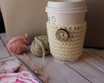 Ivory Crochet Coffee Cozy - Coffee Cozie -