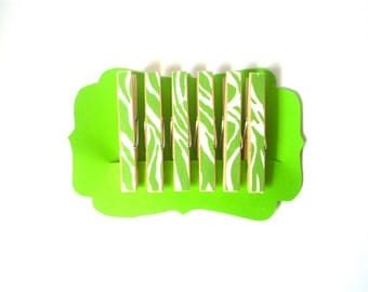 Decorative Clothespins//Green Zebra Stripe//Stocking Stuffers//Zebra Stripe Clothespins//Unique Gift Idea//Chip Clips//Gifts for Her
