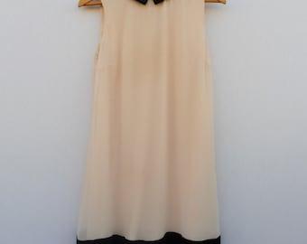 Pink + Black Dress with Rhinestone Collar Tips
