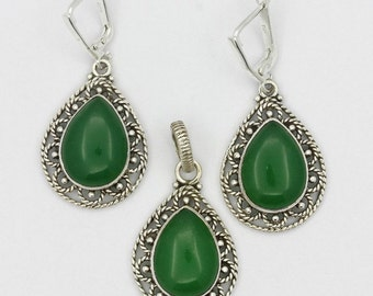New Green Onyx 925 Sterling Silver Ring/Pendant/Earrings Set S-7 A3046 Valuable In Difficult Or Confusing Times Of Our Lives