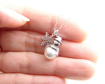 Lil Snowman Necklace. Holiday Gift. Simple Modern Jewelry by PetitBlue