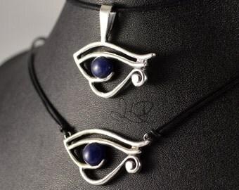 Eye of Ra, Eye of Horus, Wedjat sterling silver pendant with sodalite or lapis lazuli