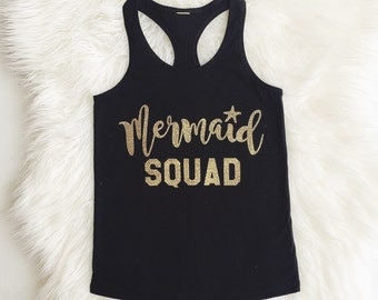 MERMAID SQUAD Sparkly Iron On Sparkle Glitter Decal in your choice of Color - Baby, Girls or Womens Sizes
