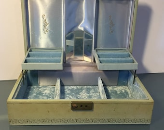 Vintage 1950s Aged Light Blue Locking Jewelry Box with Light Blue Lining and Mirror - by Tica Tica