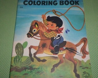 The Little Bronc Cowboy Cowgirl Coloring Book 60's Vintage UNUSED
