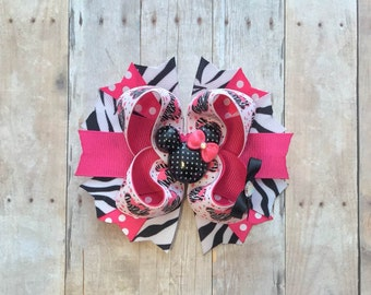 Minnie Mouse Bow-Hot Pink and Zebra Print Minnie Bow-Minnie 1st Birthday Bow-Minnie Bow-Minnie Birthday Bow-Disney Vacation-Zebra Minnie Bow
