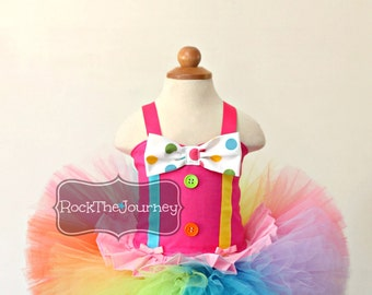 Pink Circus Clown Tutu Outfit - Carnival Rainbow Birthday Party Candy Land Pageant Dress - Halloween Costume - Baby Girl First 1 2 3 Neon