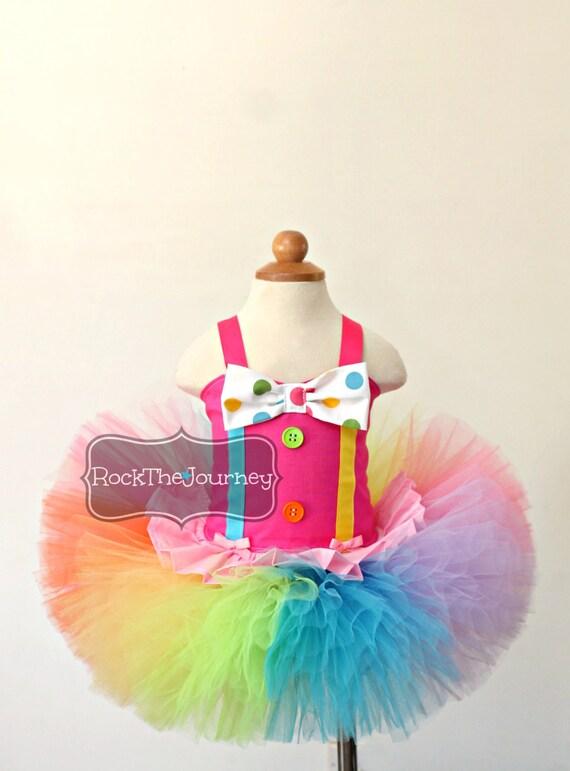 Pink Circus Clown Tutu Outfit Carnival Rainbow Birthday